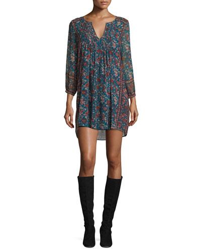 Dulce Floral-Print Silk Dress, Deep Marine