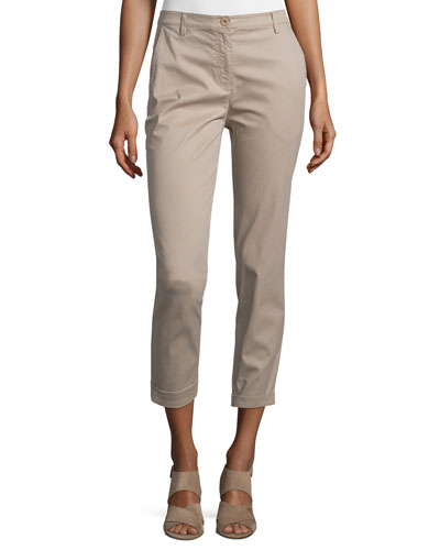 Slim-Fit Cropped Trousers, Mocha, Plus Size