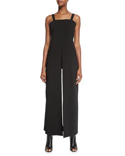 Tuxedo Camisole Wide-Leg Jumpsuit, Black