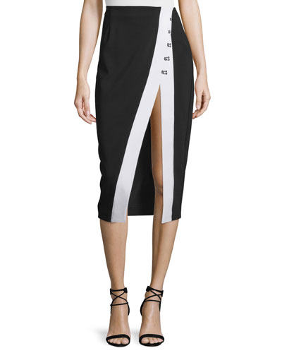 High Slit Contrast-Trim Pencil Skirt