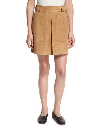 Pleated Suede Mini Skirt, Tan