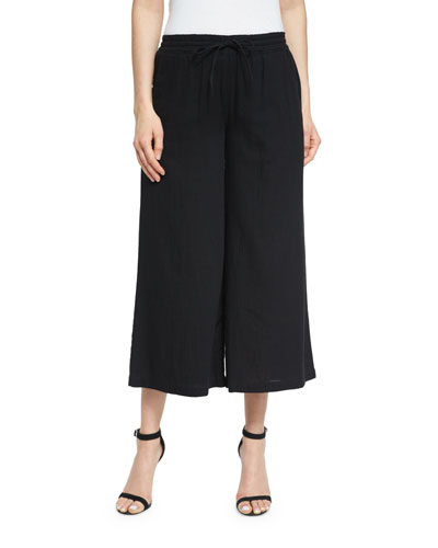 Organic Cotton Wide-Leg Cropped Pants, Black, Petite