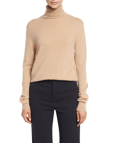Cropped Cashmere Turtleneck Sweater, Camel
