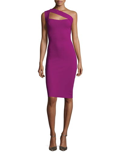 One-Shoulder Ponte Sheath Dress, Berry