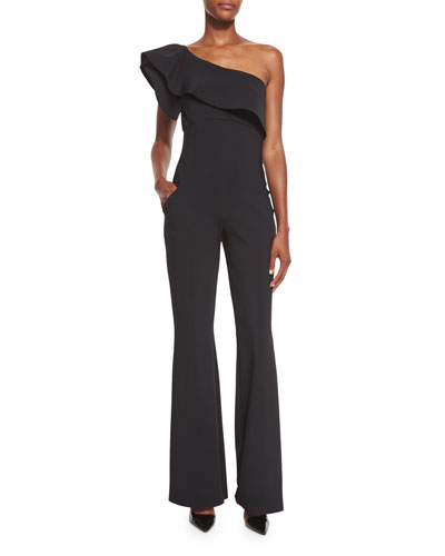 One-Shoulder Stretch Jersey Ruffle Jumpsuit, Black