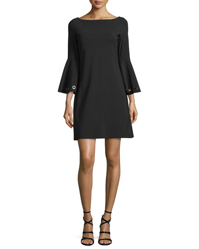 Bell-Sleeve Ponte A-Line Dress, Black