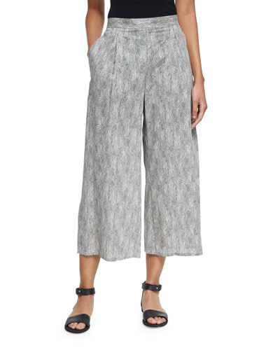 Chainette Printed Wide-Leg Cropped Pants, Natural, Petite