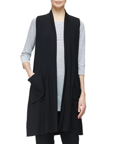 Sleeveless Lightweight Long Vest, Black, Petite