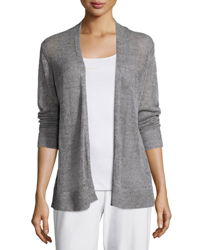 Long-Sleeve Open-Front Straight Cardigan, Dark Pearl, Plus Size
