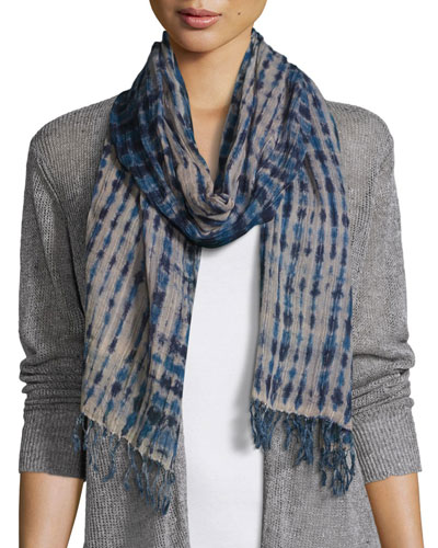 Airy Linear Shibori Scarf, Midnight