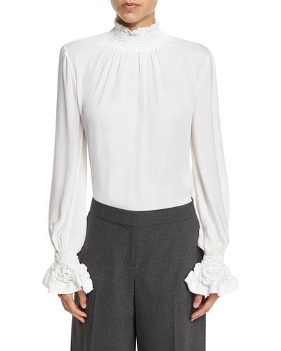 Briella Smocked Mock-Neck Silk Blouse, White