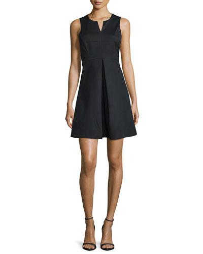 Sleeveless Split-Neck Party Dress, Black