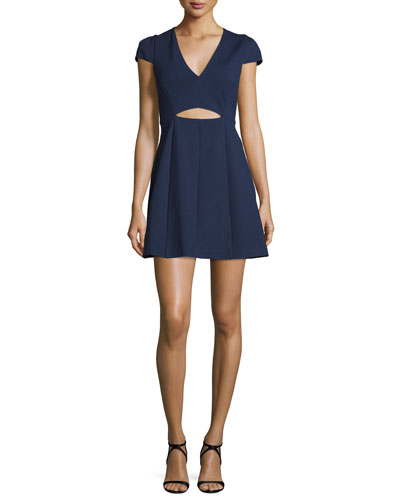 Cap-Sleeve Cutout Dress, Midnight