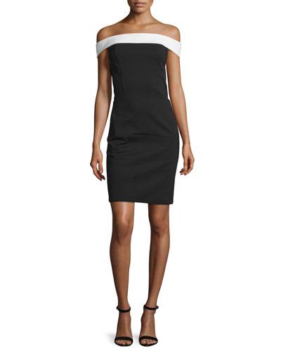 Off-The-Shoulder Sheath Dress, Black/Eggshell