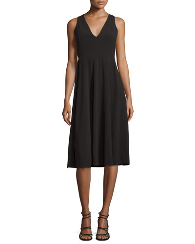 V-Neck Fit-&-Flare Midi Dress, Black