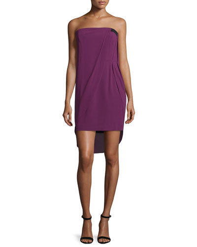 Strapless Draped Mini Dress, Magenta