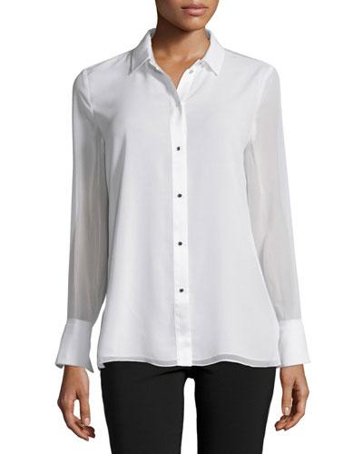 Long-Sleeve Button-Front Blouse, Bone