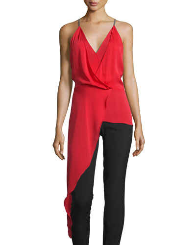 Sleeveless V-Neck Draped High-Low Top, Scarlet