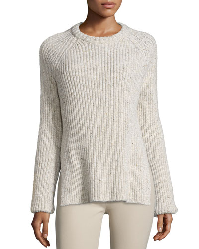 Ribbed Melange Wool-Blend Sweater, Ecru