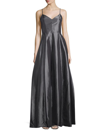 Sleeveless V-Neck Structured Gown, Charcoal