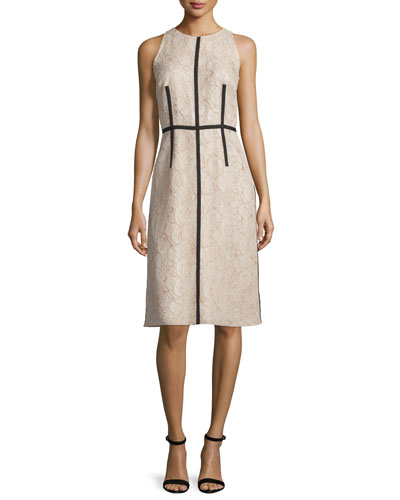 Sleeveless Lace Sheath Dress W/ Ribbon Trim
