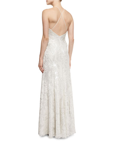 Halter-Neck Metallic Burnout Gown, Platinum