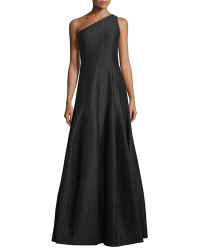 One-Shoulder Textured A-Line Gown, Black