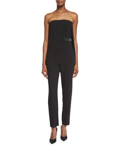 Draped Strapless Jumpsuit, Black
