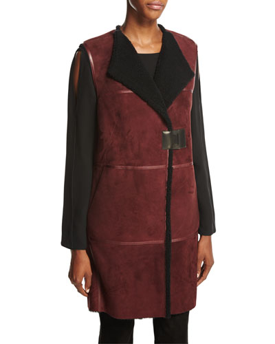 Celeste Long Leather-Trimmed Shearling Fur Vest, Cabernet/Black