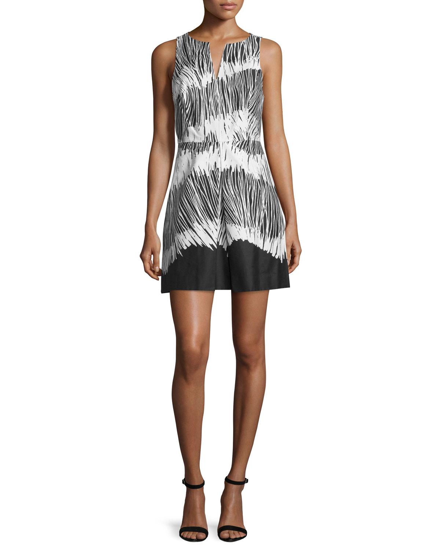 Sleeveless Printed Dress, Black
