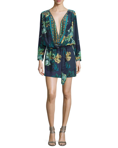 Rina Long-Sleeve Silk Blouson Dress, Colossus Print