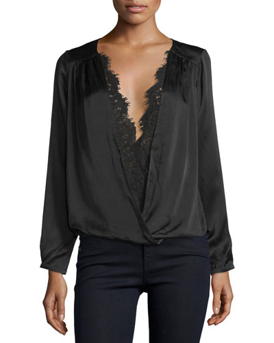Maris Surplice Lace-Trim Top, Black