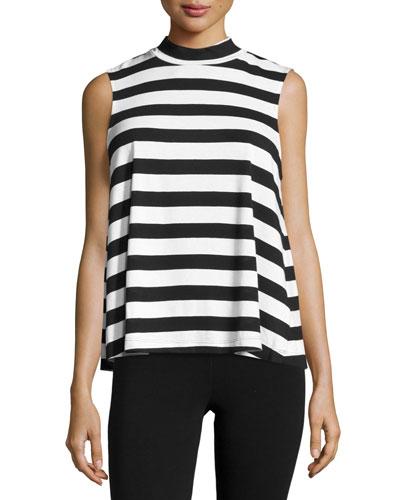 Delcia Rugby-Stripe Mock-Neck Top, White/Black