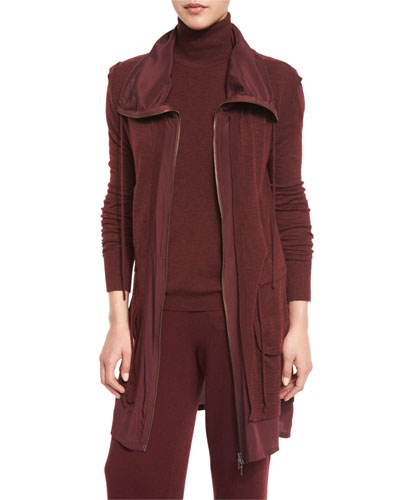 Locklyn Silk-Trimmed Wool Parka Jacket, Burgundy