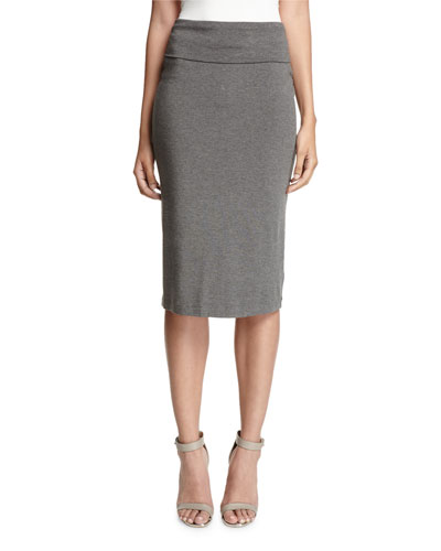 Fold-Over Knee-Length Pencil Skirt, Ash