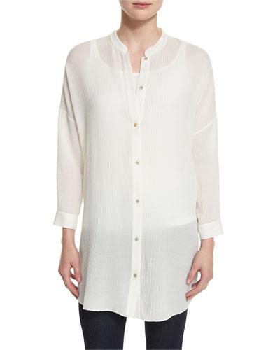 Crinkled Gauze Long Shirt
