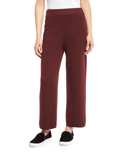 Laila Cropped Sweat Pants, Burgundy