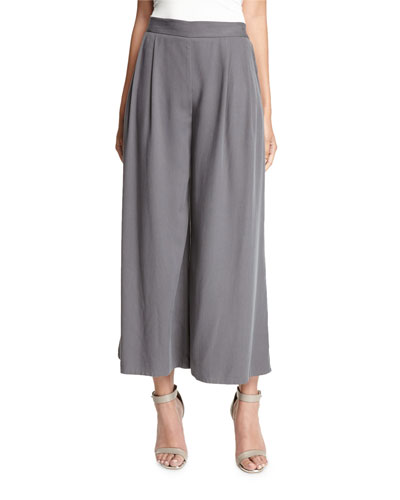 Woven Tencel® Grain Wide-Leg Cropped Pants, Ash