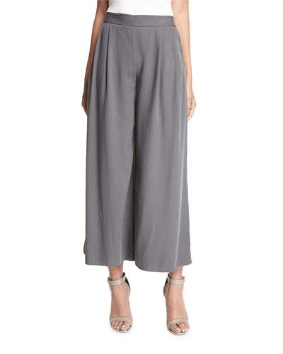 Woven Tencel® Grain Wide-Leg Cropped Pants, Ash
