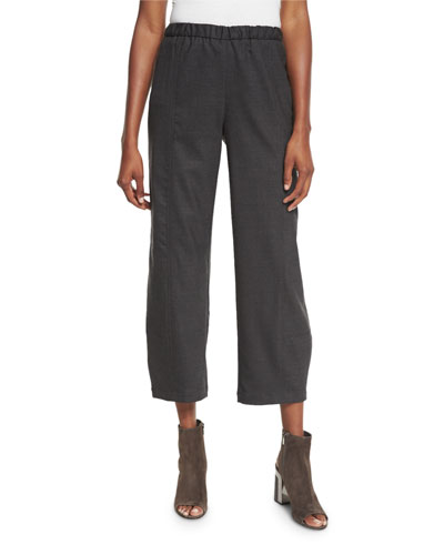 Stretch-Wool Lantern Ankle Pants, Petite