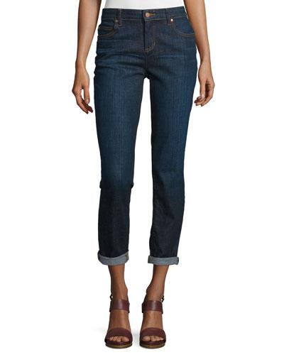 Slim-Leg Cropped Boyfriend Jeans, Deep Indigo, Petite