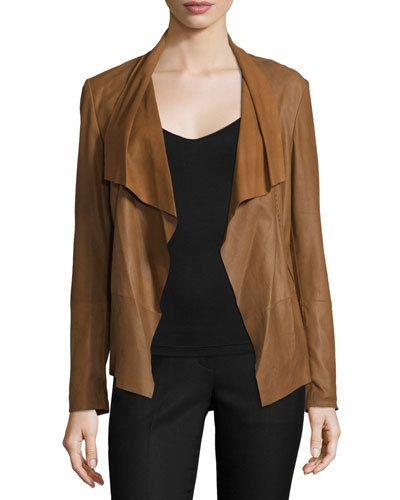 Pick-Stitch Draped-Front Suede Jacket, Chestnut