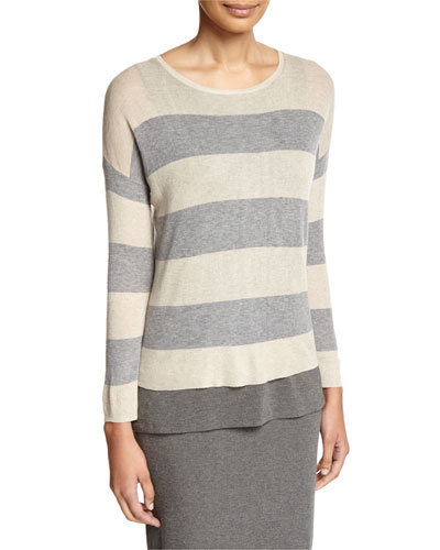 Sleek Lyocell/Merino Long-Sleeve Striped Boxy Top, Plus Size