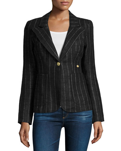 Duchess Striped Blazer with Suede Trim