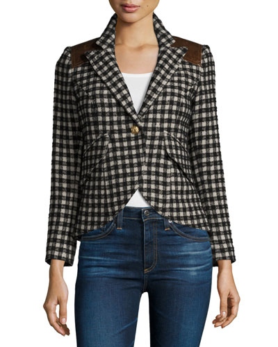 Check One-Button Blazer with Leather Trim