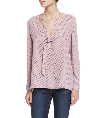 Coma Polka-Dot Tie-Neck Top, Lavender Multi