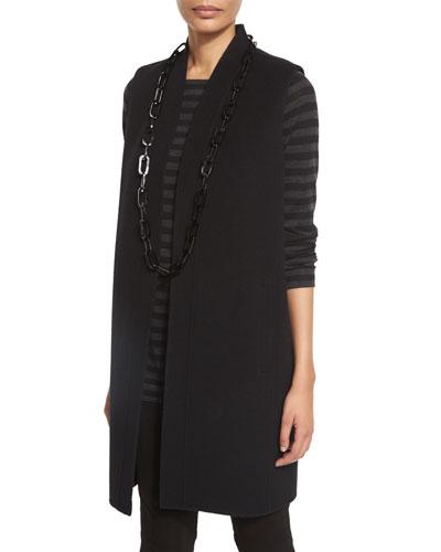 Brushed Wool Double-Face Vest, Black