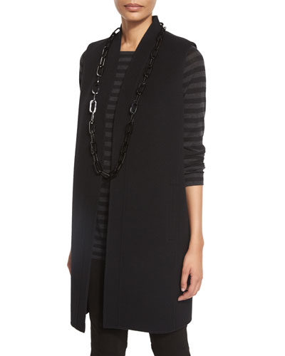Brushed Wool Double-Face Vest, Black, Petite