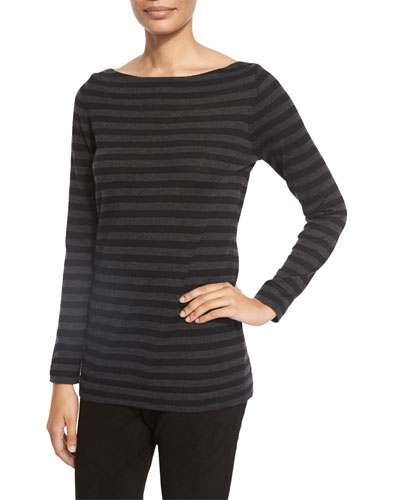 Striped Merino Wool Long-Sleeve Top, Charcoal/Black, Petite