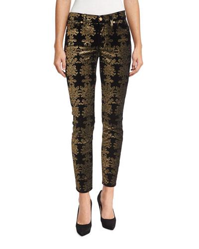 The Skinny Ankle Brocade Velvet Jeans